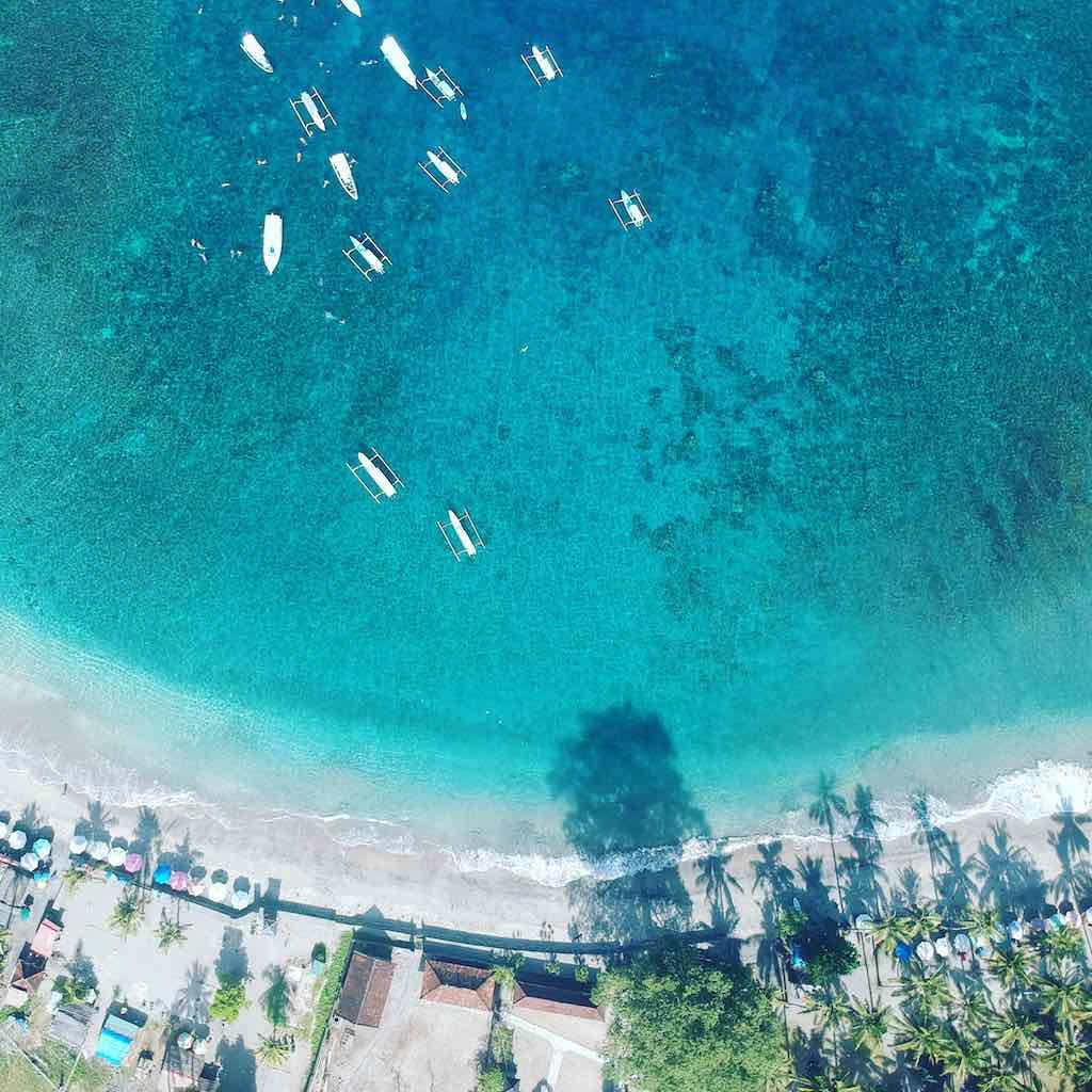 Crystal Bay Nusa Penida Bali drone view