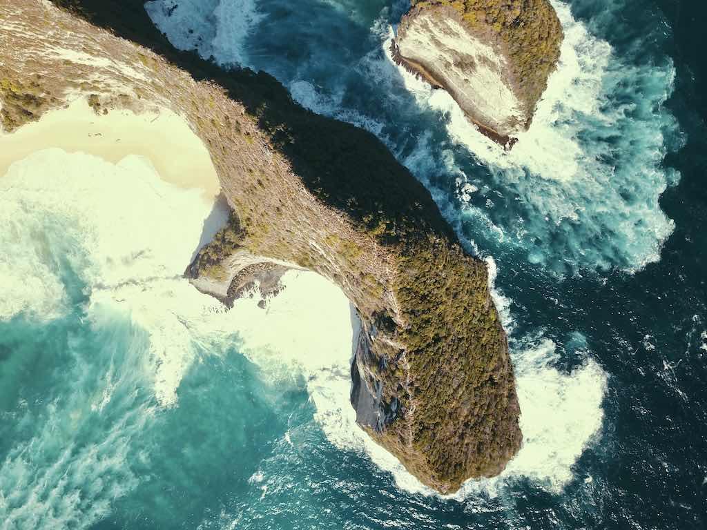 Kelingking Beach Nusa Penida Bali Vertical Drone view