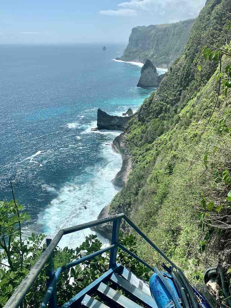 Guyangan Waterfall Nusa Penida Bali Blue staircase