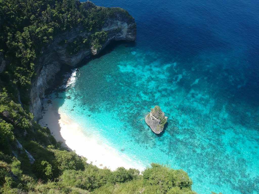 Suwehan Beach Nusa Penida Bali drone view