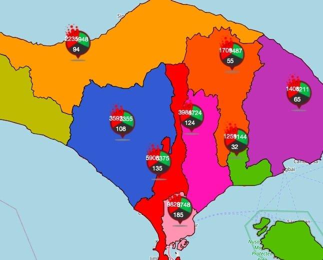 coronavirus covid-19 bali map February 20