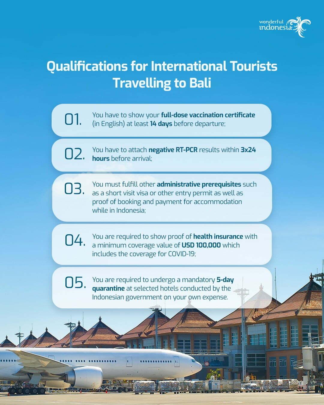 coronavirus regulation qualifications for international tourists travelling to Bali