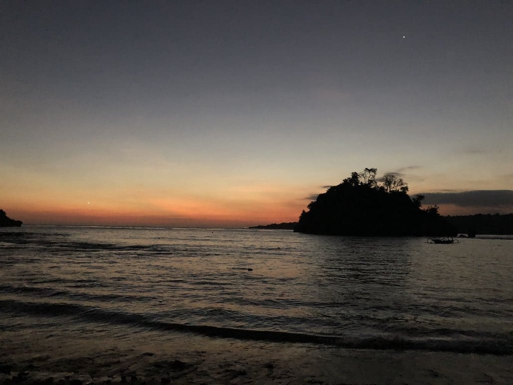 Crystal Bay Nusa penida Bali after sunset