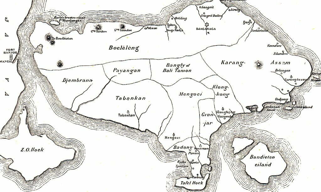 History of Bali map of Bali in 1900