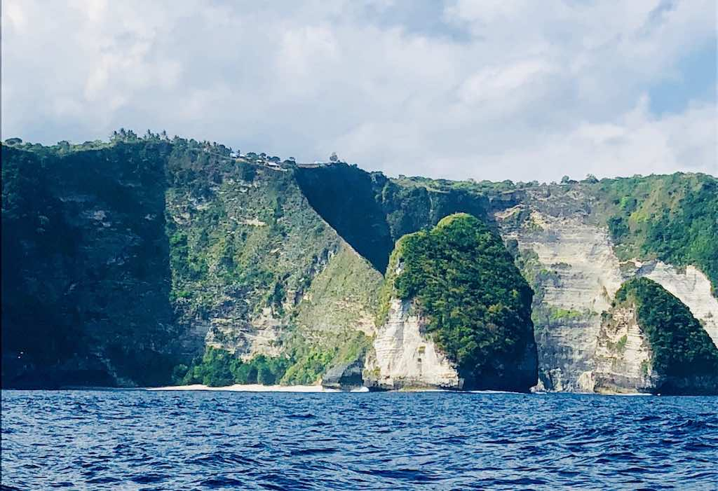 Kelingking Beach Nusa penida Bali seen from the sea