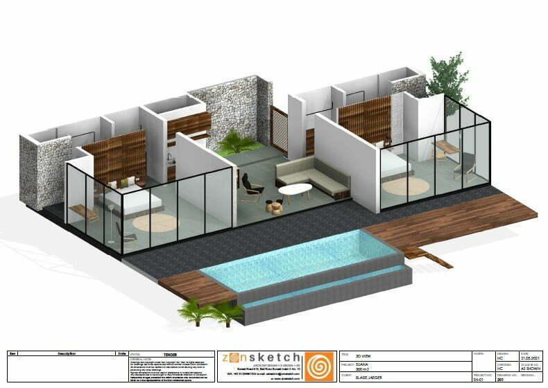 3D 2 bedroom villa