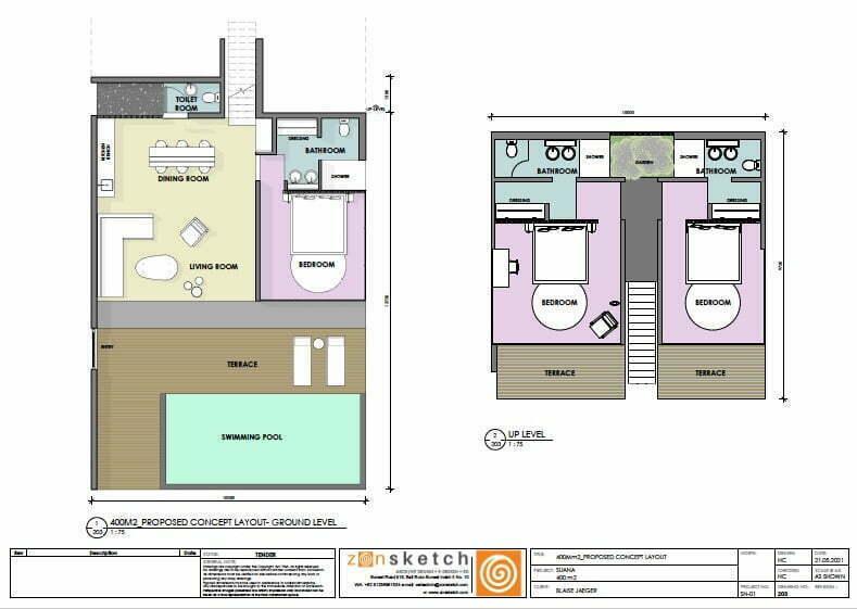 drawing villa 3 bedrooms land for sale Nusa Penida Bali